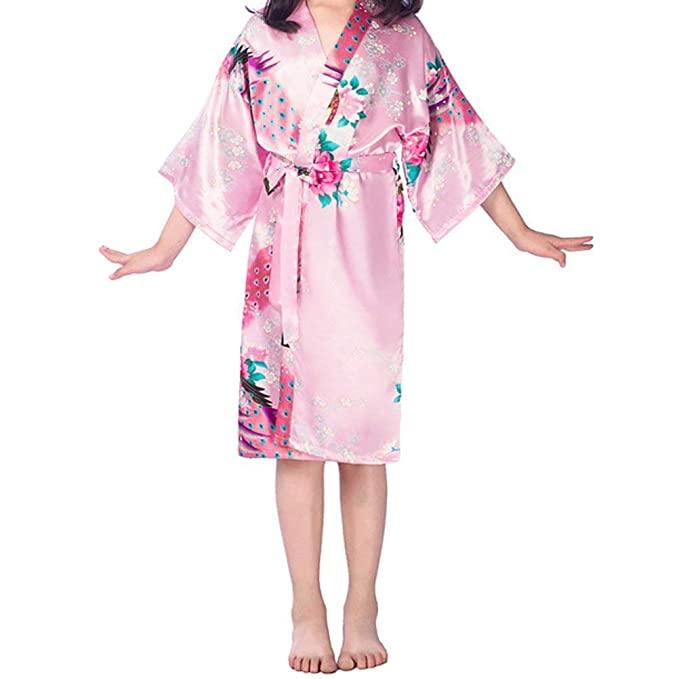 Mujer Pijamas Mujer Primavera Otoño Satín Kimono Moda Casuales Elegante Mode De Marca Patrón De Flores Batas Mangas 3/4 V-Cuello Camisones Pijama con ...