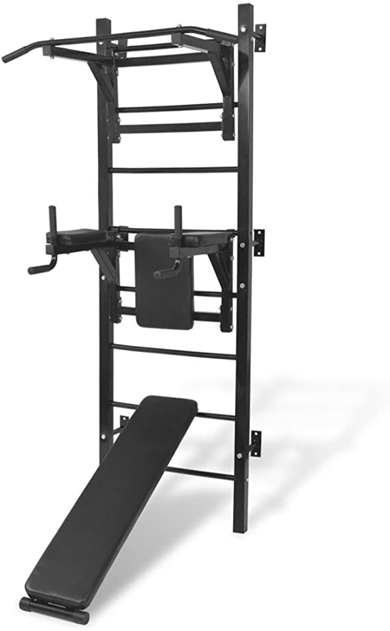 vidaXL Máquina de Musculación Multiusos para la Pared Negra Equipo de Gimnasio: Amazon.es: Deportes y aire libre