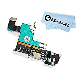 EShine Iphone 6 4.7 Charging Port Dock Connector Headphone Jack Flex Cable, Microphone replacement + EShine Cloth (Gray)