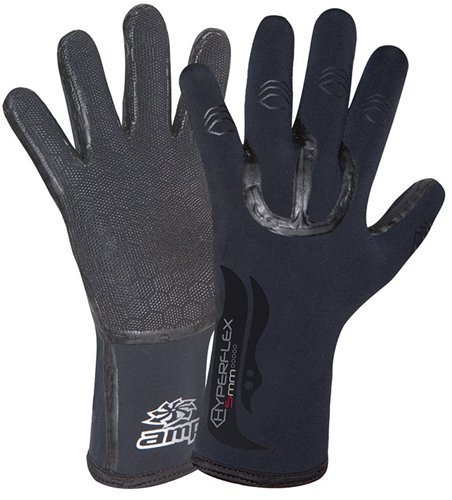 Hyperflex Surf Gloves - Hyperflex Wetsuits Men's 5mm Amp Glove, Black, Small - Surfing, Windsurfing & Wakeboarding