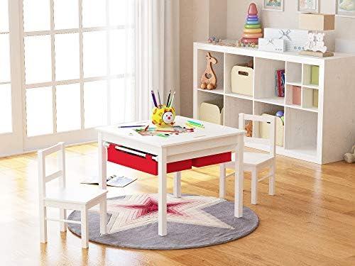 Blanc avec Red tiroir UTEX 2-in-1 Enfants Multi Table activit/é et 2 chaises avec Espace de Rangement
