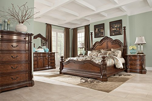 Cal King Poster Bedroom Set (Ashley Ledelle Poster Bedroom Set - Queen, King or Cal. King - 5 pc. (Cal King))
