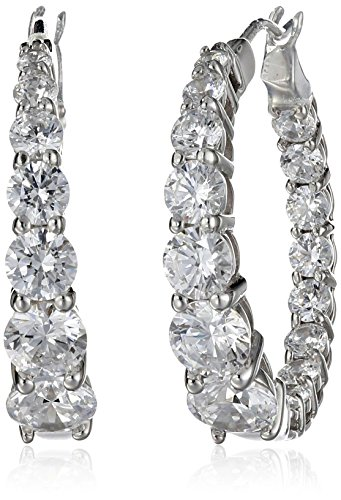 - Platinum Plated Sterling Silver Hoop Earrings set with Graduated Swarovski Zirconia (3.76 cttw), 1