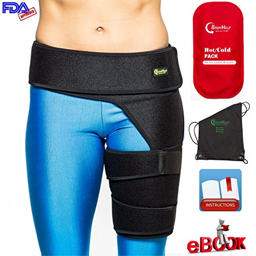 BODY HELP Hip Brace Support + Hot Cold Reusable Pack for Immediate Pain Relief + Bag + Ebook + Instructions Best Thigh Belt for Men Women Adjustable Groin Wrap Hamstring Strap for Strain Nerve Sciatic (Body Brace)