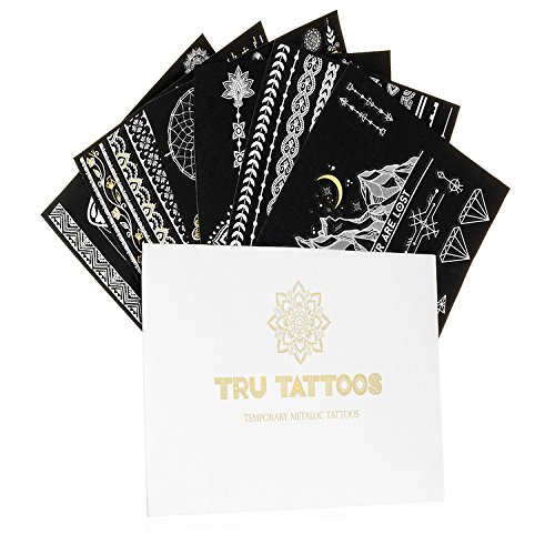 Tru Flash Tattoos - Premium Temporary Metallic Tattoos - 6 Sheets - Festival Flash Tattoos - Flash Tattoos For Women - Over 50 Intricate Designs (White Gold)