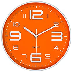45Min 10-Inch 3D Digital Dial Face Modern Wall Clock, Silent Non-Ticking Round Home Decor Wall Clock with Arabic Numerals, 5 Colors(Orange)