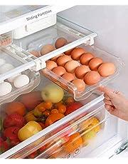 TEUN Fridge Egg Drawers, Refrigerator Egg Storage Container Refrigerator Pull Out Bins Snap On Drawer Organizer Egg Storage Box Space Saver