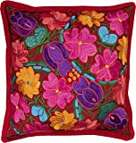 El Paso Designs Colorful Mexican Flowers Handmade Embroidery Pillow Cover in Different Vivid Colors (Red)