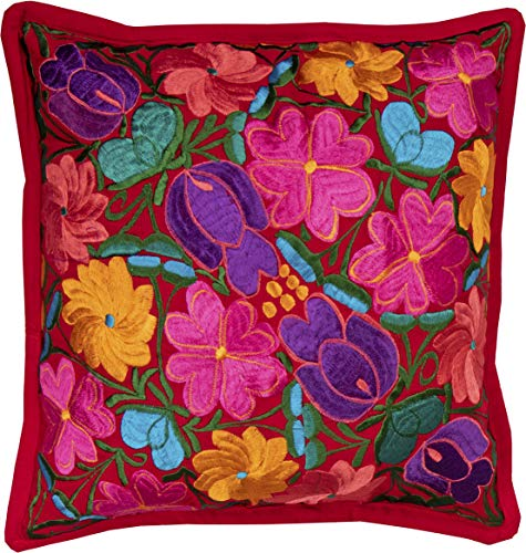 El Paso Designs Colorful Mexican Flowers Handmade Embroidery Pillow Cover in Different Vivid Colors (Red) by El Paso Designs