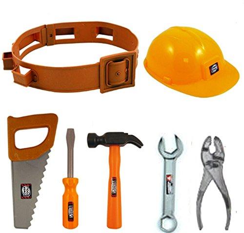 Star55 Childrens Boys Girls Toy Play Builder Work Man Hard Hat Tool Belt & Tools (Tool Belts Girl)