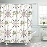 Emvency Shower Curtain Waterproof Polyester Decorative Collection 72 x 72 inches Gray Animals Decorated Bridal Indian Elephant Asian Color Culture Gold Heavy Holy Set with Hooks Bathroom