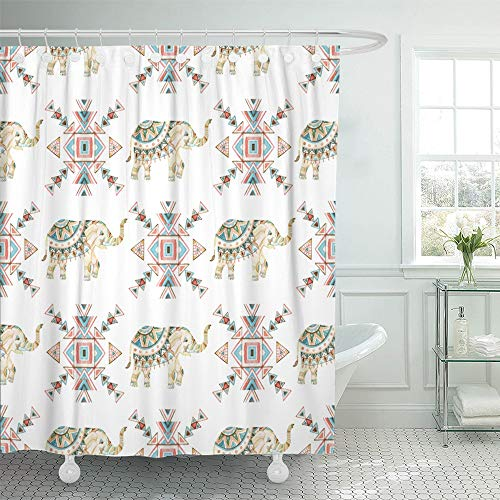Emvency Shower Curtain Waterproof Polyester Decorative Collection 72 x 72 inches Gray Animals Decorated Bridal Indian Elephant Asian Color Culture Gold Heavy Holy Set with Hooks Bathroom by Emvency