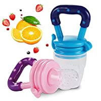 Baby Food Feeder Teether(2Pcs), BESTWIN Infant Fruit Teething Nibble Toy, Sil...