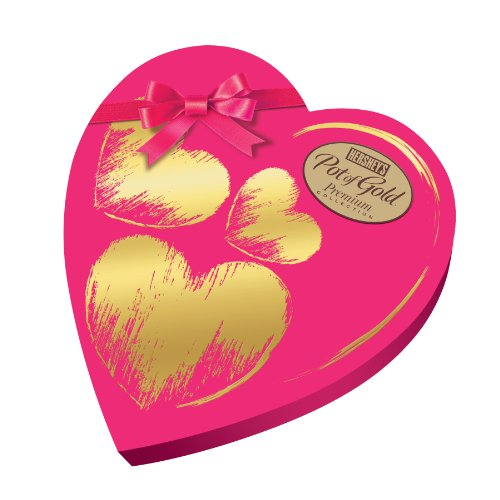 HERSHEY'S POT OF GOLD Assorted Premium Collection, Pink Heart Box, 8.9 Ounce