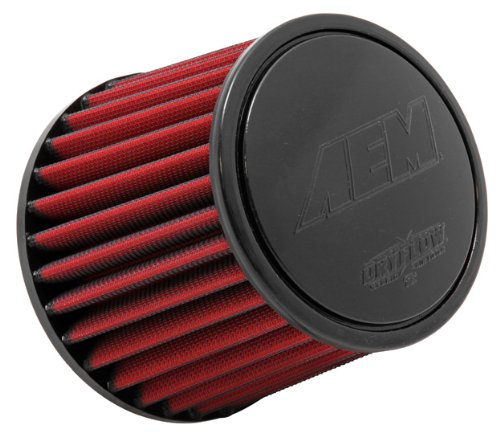 AEM 21-203DK Universal DryFlow Clamp-On Air Filter: Round Tapered; 3 in (76 mm) Flange ID; 5.125 in (130 mm) Height; 6 in (152 mm) Base; 5.125 in (130 mm) Top ()
