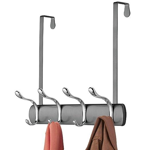mDesign Práctico perchero de puerta – Percha con 8 ganchos para colgar para cocina, recibidor o baño – Colgador de ropa para abrigos, chaquetas, ...