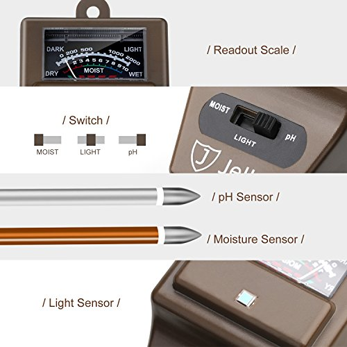 Jellas Soil Moisture Meter - 3 in 1 Soil Tester Kit Plant Moisture Sensor Meter/Light/pH Tester for Home, Garden, Lawn, Farm Promote Plants Healthy Growth - Brown
