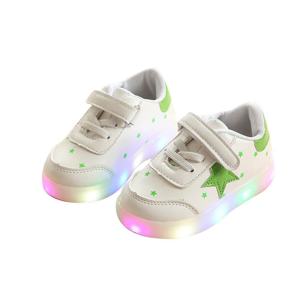 edv0d2v266 Fashion Girls LED Shoes Light up Spring Shoes Antiskid Bottom Tennis Led Sports Shoes(Green 23/6MUSToddler)