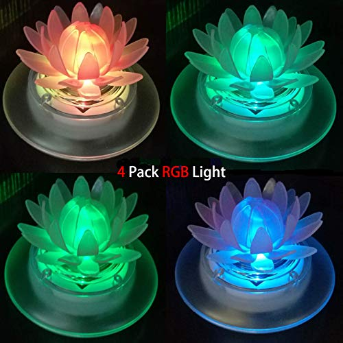 (pearlstar Solar Floating Lights Waterproof LED RGB Floating Night Lights for Swimming Pool or Pond Decoration (4Pcs Lotus))