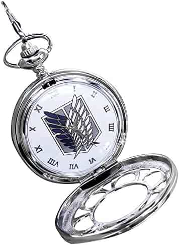 Raleighsee Attack on Titan Vintage Hollow Pocket Watch with Chain Box for Cosplay Accessories Anime Fans Gift(White)