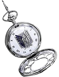 Attack on Titan Vintage Hollow Pocket Watch with Chain Box for Cosplay Accessories Anime Fans Gift(White)
