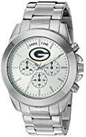 Game Time Women's 'Knock-Out' Quartz Stainless Steel Quartz Analog Watch, Color:Silver-Toned (Model: NFL-TBY-GB)