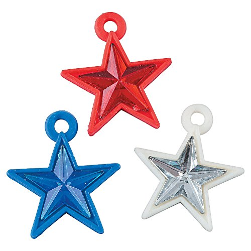 Fun Express - Patriotic Star Rubber Charms for Fourth of July - Craft Supplies - Kids Beading - Plastic Beads - Fourth of July - 48 Pieces (Charm July Kids)