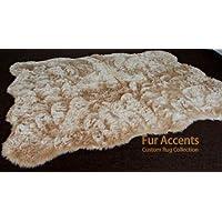 Fur Accents Shaggy Faux Fur Area Rug / Fake Sheepskin / Tan, Camel Beige Random Shape / 5 X 7