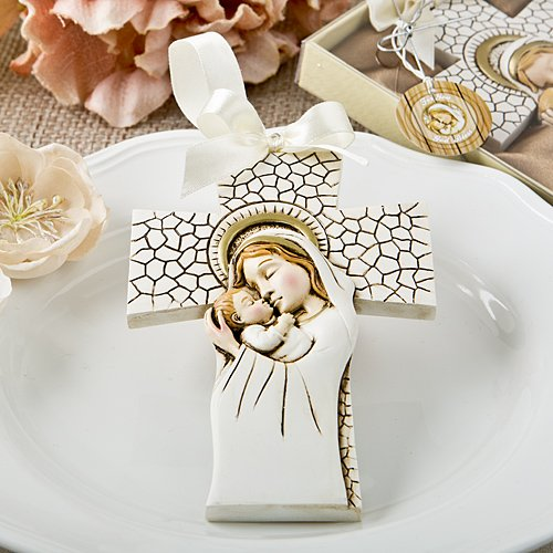 Fashioncraft, Baptism First Communion Christening Favors, Madonna and Child hanging cross ornament, Set of 11