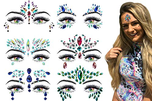 6 Stick On Face Jewels Sets, Gems, Glitter, Gem-Stones, Rhinestones Stickers, Temporary Tattoo - Self-Adhesive, Bindi, Indian, Mermaid Crystals. Accessories For Body, Women, Festivals, Rave, or Party by Luxxe Hour