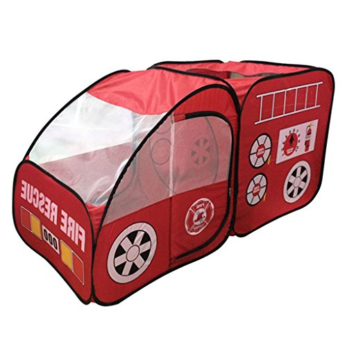 DYNWAVE Indoor Outdoor Pop Up Play Tent Fire Truck Playhouse, Kids Room Decor, Pretend Vehicle for Boys Girls