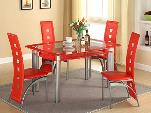 GTU Furniture 5Pc Glass Dining Room/ Kitchen Table Set, 1 Table and 4 Chairs (Red Tinted Edge, Red)