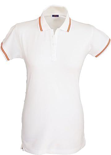 Pi2010 - Polo Mujer Bandera de España en Cuello y magas/Blanco / 100% algodón