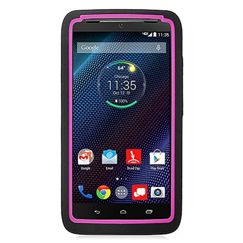 - Motorola Droid Turbo Case, Eagle Cell Symbiosis Dual Layer [Shock Absorbing] Protection Hybrid Stand Rubber Silicone/PC Case Cover For Motorola Droid Turbo, Black/Hot Pink