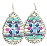 Brighton Wisteria Oval Multi Color Blue Pink French Wire Earrings