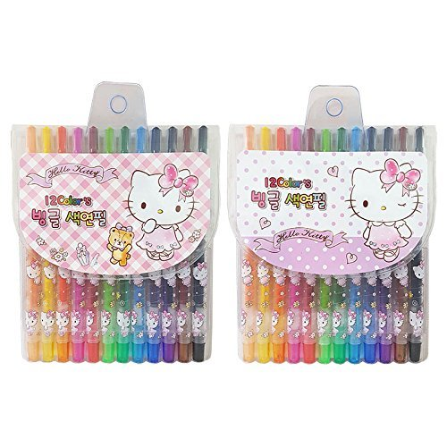 NEW Sanrio Hello Kitty 12 Colors Twist up Crayon Set : Pink Dress 1pc (Random)