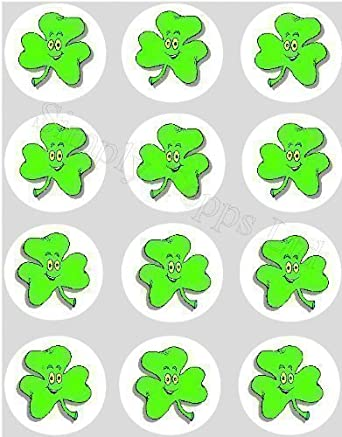 12 Irish Shamrock Rice Paper Fairy Cup Cake 40mm Toppers Pre Cut