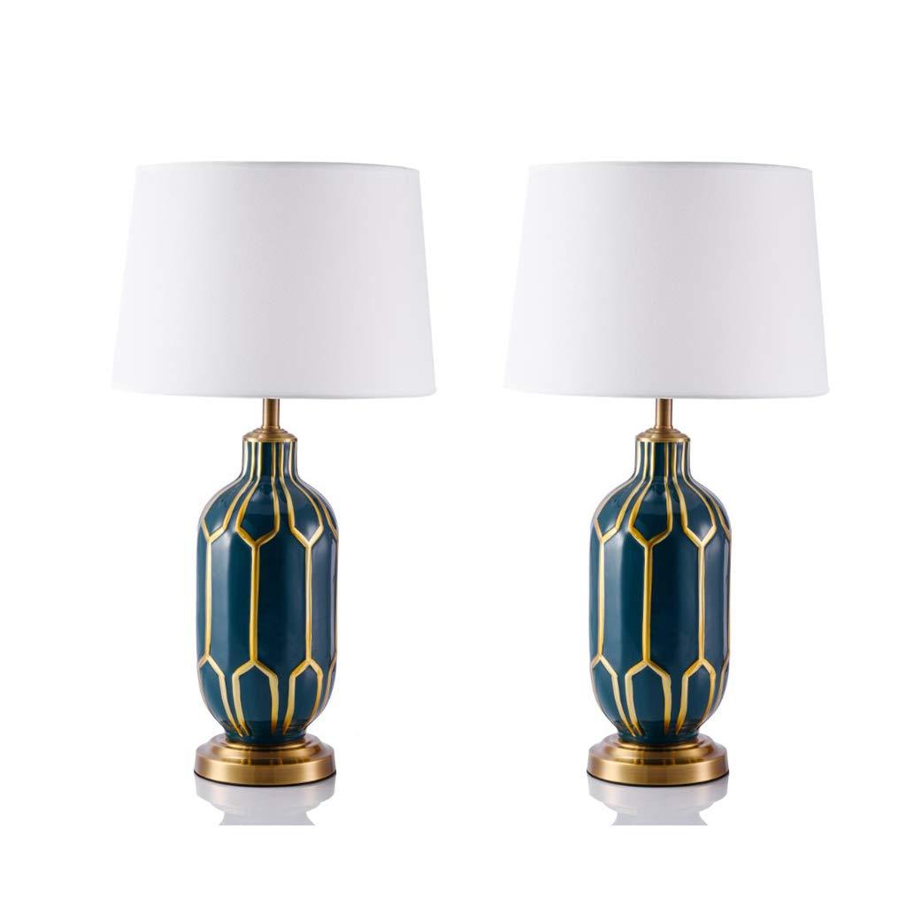CMCL Startseite Keramik Tischlampe, Nachttischlampe Kreative Schlafzimmer Wohnzimmer Dekoration Tischlampe Set 2 B07H33PQ1B   Produktqualität