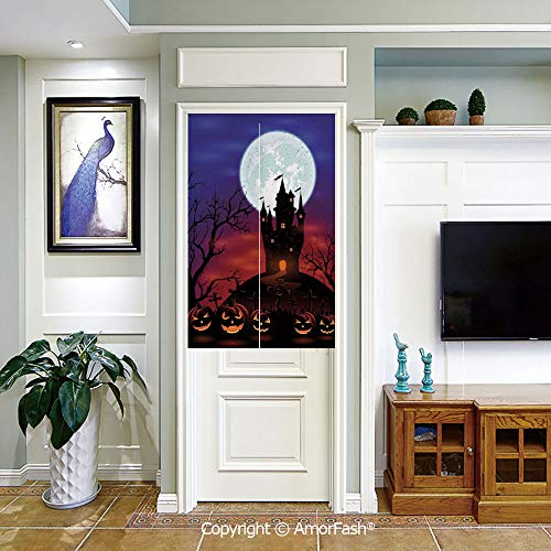 (PUTIEN Individuality Japanese Style Doorway Curtain,Noren Curtain Tapestry,Halloween-Decorations Gothic Haunted House Castle Hill Valley Night Sky October Festival)