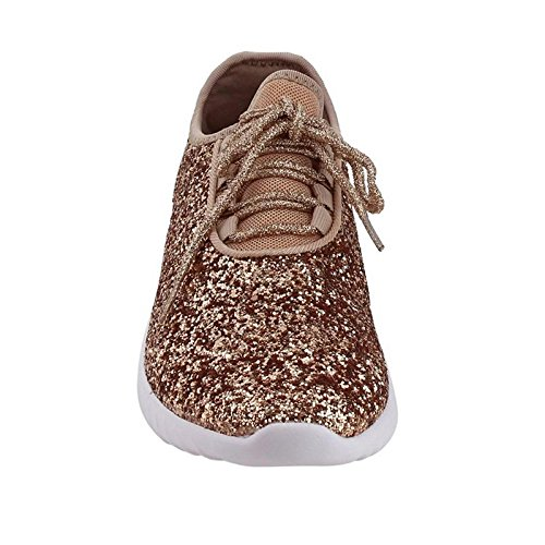 Forever Link Women's REMY-18 Glitter Fashion Sneakers Rose Gold 5.5 B(M) US by Forever Link (Image #3)