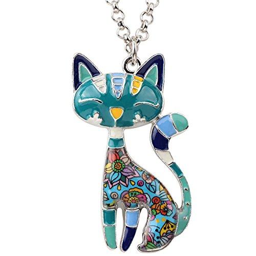 BONSNY Statement Enamel Alloy Chain Cat Necklaces Pendant Original Design for Women Girls (Blue)