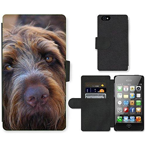 Just Phone Cases PU Leather Flip Custodia Protettiva Case Cover per // M00128742 Chien à poil long Fermer Eared // Apple iPhone 4 4S 4G
