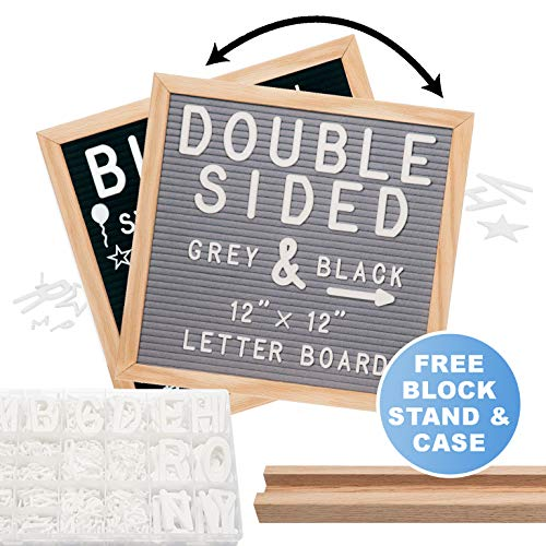 Felt Letter Board 12x12 | Double Sided Letter Board - Gray & Black | Fully Clean Cut Letters, Oak Stand, Large & Small Letters. Felt Board with Clean-Cut Letters, Symbols. Letters Board ()