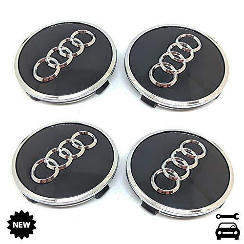 4X Nabenkappen 61mm F/ür Audi Felgen Radnabenabdeckung Satz Nabendeckel Radkappen Schwarz mit Chromrand 4M0601170 JG3 A3 A4 A6 Q7 und andere Modelle Wheel Hub Caps