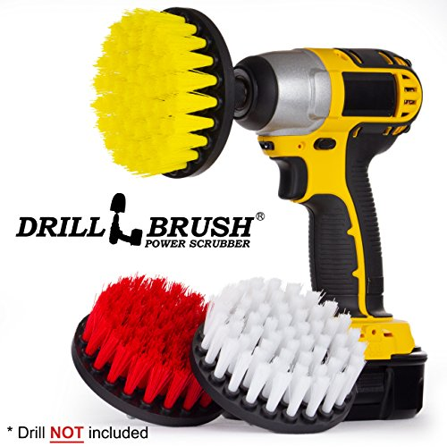 Cleaning Supplies - Drill Brush - Soft, Medium, Stiff Scrub Brush Variety Kit - Leather - Mirror - Glass Cleaner - Bathroom Accessories - Shower Cleaner - Tub - Bath Mat - Outdoor - Garden Statues