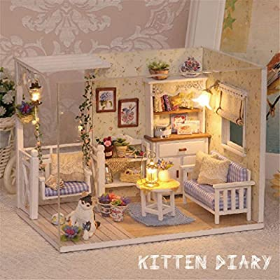 Wooden Miniature Dollhouse Kit with Light-DIY Art House Crafts-3D Wooden Model Sweet Building Sets-Perfect Birthday for Girls Women Friends Mom Wife: Toys & Games