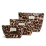 3Pcs Waterproof Travel Toiletry Cosmetic Bags Set for Women Girls Mult-Style Makeup Case Pouch for Travel (Leopard Print)