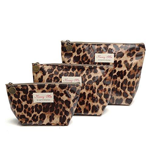 Leopard Print Purses (3Pcs Waterproof Cosmetic Bag Set, Portable Travel Toiletry Pouch Makeup Clutch Bag for Women, Girls)