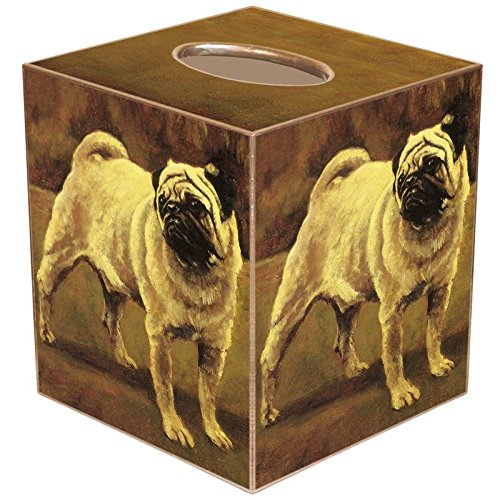Fawn Pug Dog Paper Mache Tissue Box Cover