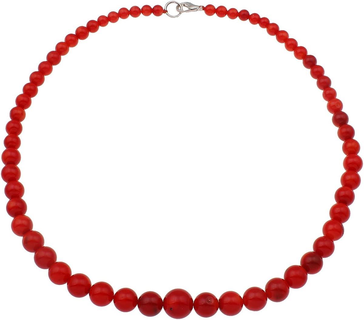 TreasureBay Collar de coral natural, rojo, 4 mm, 46 cm